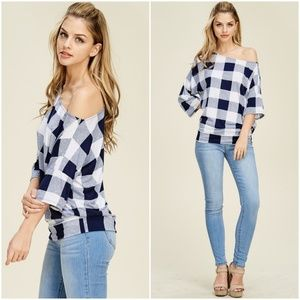 Navy Off The Shoulder Checkered Top